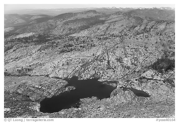 Lakes below Mount Hoffman. Yosemite National Park (black and white)