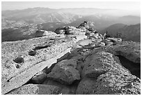 Summit of Mount Hoffman with hazy Yosemite Valley in the distance. Yosemite National Park, California, USA. (black and white)