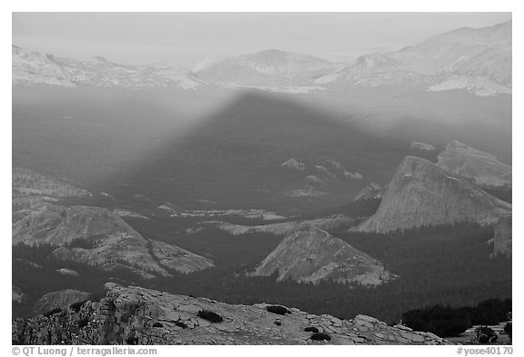Shadow cone of Mount Hoffman at sunset. Yosemite National Park (black and white)