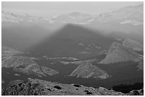 Shadow cone of Mount Hoffman at sunset. Yosemite National Park, California, USA. (black and white)