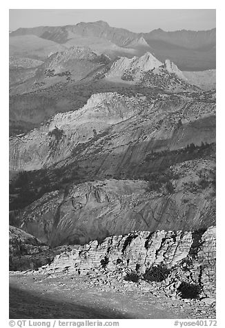 High country ridges at sunset. Yosemite National Park (black and white)