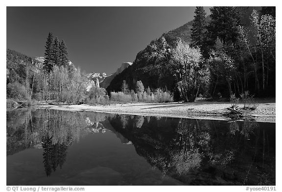 Banks of  Merced River with Half-Dome reflections in autumn. Yosemite National Park (black and white)