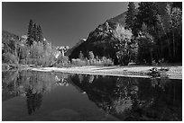 Banks of  Merced River with Half-Dome reflections in autumn. Yosemite National Park ( black and white)