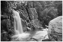 Chilnualna Falls in  winter. Yosemite National Park ( black and white)