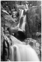 Cascading water in Chilnualna Falls. Yosemite National Park ( black and white)
