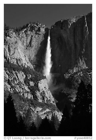 Upper Yosemite Falls in spring, early morning. Yosemite National Park (black and white)