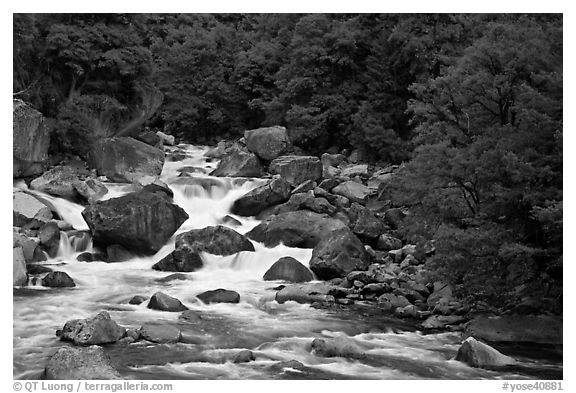 Merced River and boulders in spring, Lower Merced Canyon. Yosemite National Park (black and white)