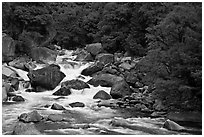 Merced River and boulders in spring, Lower Merced Canyon. Yosemite National Park, California, USA. (black and white)