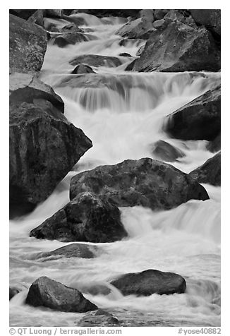 Boulders and rapids, Lower Merced Canyon. Yosemite National Park (black and white)