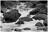 Cascades and boulders, Lower Merced Canyon. Yosemite National Park, California, USA. (black and white)