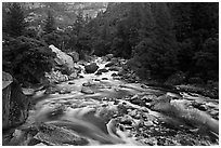 Lower Merced Canyon with wide Merced River. Yosemite National Park, California, USA. (black and white)