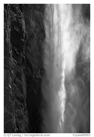 Falling water and mist,  Bridalveil fall. Yosemite National Park (black and white)