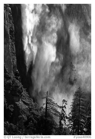 Bridalveil fall with water sprayed by wind gusts. Yosemite National Park (black and white)