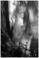 Bridalveil fall with water sprayed by wind gusts. Yosemite National Park ( black and white)