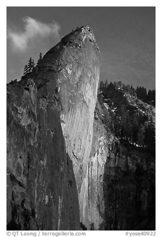Leaning Tower, sunset. Yosemite National Park (black and white)