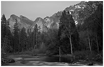 Merced River and Cathedral rocks at dusk. Yosemite National Park ( black and white)