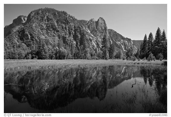 Sentinel Rock reflected in seasonal pond, Cook Meadow. Yosemite National Park (black and white)