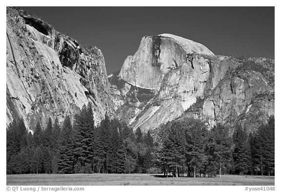 Half Dome and Washington Column from Ahwanhee Meadow in Spring. Yosemite National Park (black and white)