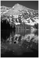 Tenaya Peak reflected in Tenaya Lake, early spring. Yosemite National Park ( black and white)