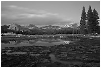 Tuolumne Meadows with domes reflected in early spring, dusk. Yosemite National Park ( black and white)