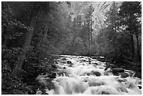 Merced River cascades, Happy Isles. Yosemite National Park, California, USA. (black and white)