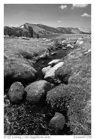 Boulders, stream, and lower Gaylor Lake. Yosemite National Park (black and white)