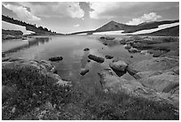 High alpine basin with Gaylor Lake. Yosemite National Park, California, USA. (black and white)