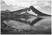 Peak reflected in uppper Gaylor Lake. Yosemite National Park ( black and white)