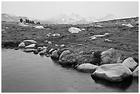 Shore of Gaylor Lake and Cathedral range. Yosemite National Park, California, USA. (black and white)
