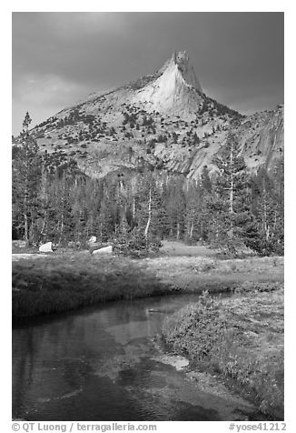 Cathedral Peak with storm light. Yosemite National Park (black and white)