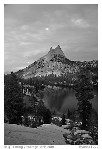 Cathedral Peak and upper Lake at sunset. Yosemite National Park (black and white)