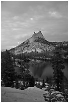 Cathedral Peak and upper Lake at sunset. Yosemite National Park, California, USA. (black and white)