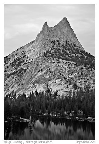 Cathedral Peak at sunset. Yosemite National Park (black and white)