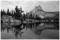 Upper Cathedral Lake and Cathedral Peak at dusk. Yosemite National Park, California, USA. (black and white)