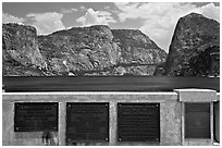 Commemorative inscriptions on dam and Hetch Hetchy reservoir. Yosemite National Park, California, USA. (black and white)