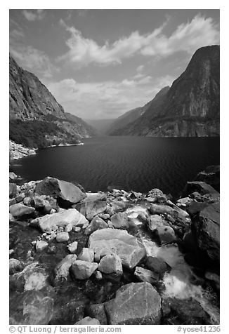 Stream from Wapama fall and Hetch Hetchy reservoir. Yosemite National Park (black and white)