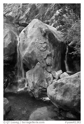 Base of Wapama fall in summer, Hetch Hetchy. Yosemite National Park (black and white)