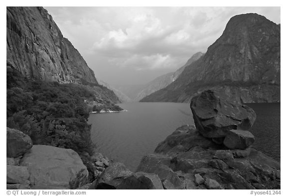 Reservoir and Kolana Rock, summer storm, Hetch Hetchy. Yosemite National Park (black and white)