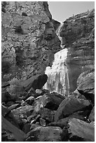 Boulders, Wapama Falls, and rock wall, Hetch Hetchy. Yosemite National Park, California, USA. (black and white)