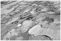 Eroded granite slabs, Canyon of the Tuolumne. Yosemite National Park, California, USA. (black and white)