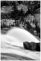 Waterwheel at dusk, Waterwheel falls. Yosemite National Park, California, USA. (black and white)