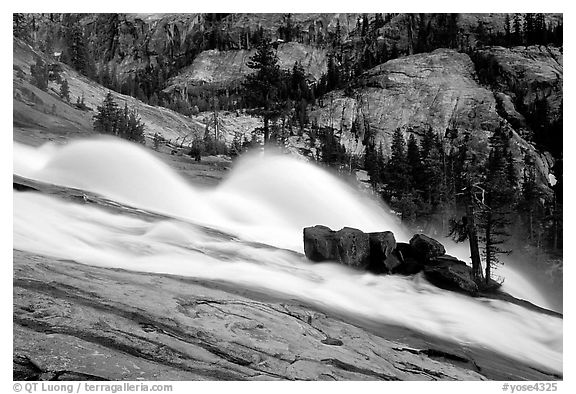 Waterwheels at dusk, Waterwheel falls. Yosemite National Park (black and white)