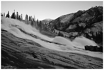 Waterwheel Falls, sunset. Yosemite National Park, California, USA. (black and white)