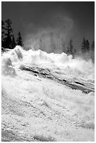 Raging waters of Waterwheel Falls, morning. Yosemite National Park, California, USA. (black and white)