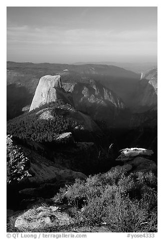 Half-Dome seen from Clouds rest, morning. Yosemite National Park (black and white)