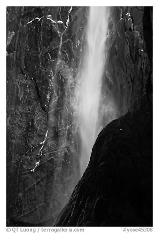 Lower Yosemite Falls with low flow and rainbow. Yosemite National Park (black and white)