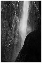 Lower Yosemite Falls with low flow and rainbow. Yosemite National Park, California, USA. (black and white)