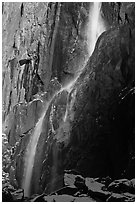 Lower Yosemite Falls in winter. Yosemite National Park, California, USA. (black and white)