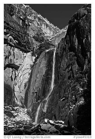Lower Yosemite Falls and rock wall with snowy trees on rim. Yosemite National Park (black and white)