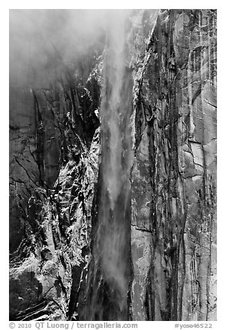 Ribbon Falls and snowy cliff. Yosemite National Park (black and white)